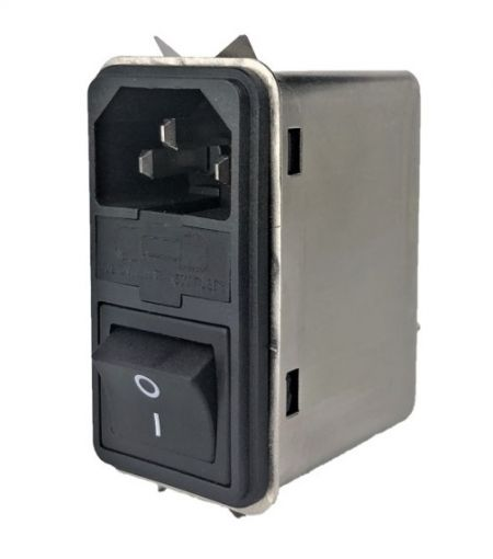Fast-on Terminal Power Entry Module Filters YQ-A1-S3 - All new Power entry model filters with compact size in no flange but latch assembly structure.  3-in-1 design with IEC inlet, a mains filter with dual-fuse holder and a 2-pole rocker switch.
