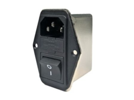 Fast-on Terminal Power Entry Module Filters YQ-A1-S4 - All new Power entry model filters with compact size in left-right flange assembly structure.  3-in-1 design with IEC inlet, a mains filter with single-fuse holder and a 2-pole rocker switch.
