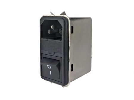 Fast-on Terminal Power Entry Module Filters YQ-A1-S6 - All new Power entry model filters with compact size in no flange but latch assembly structure.  3-in-1 design with IEC inlet, a mains filter with single-fuse holder and a 2-pole rocker switch.