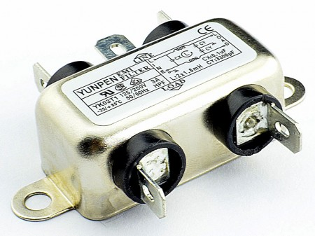 Fast-on connection Single Phase Filters YK-T1 - Fast-on connection YK-T1 is the single phase one-stage filter for general purpose.