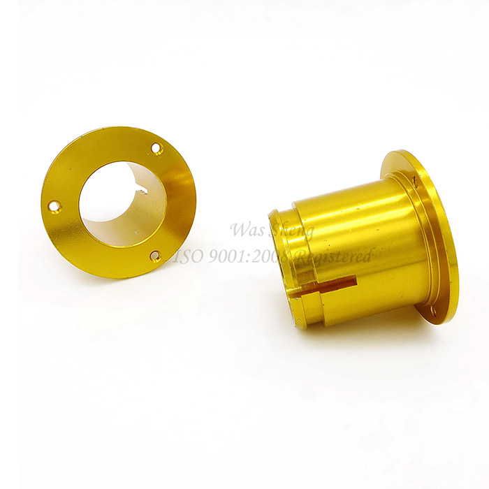 Aluminium Yellow Anodized Bearing Bushing Sleeve