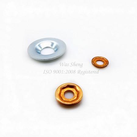 แหวนรองทรงกรวย (ฝา), เครื่องซักผ้าทรงโดมทรงเหลี่ยมพร้อม Countersunk - แหวนรองทรงกรวย (ฝา), เครื่องซักผ้าทรงโดมทรงเหลี่ยมพร้อม Countersunk