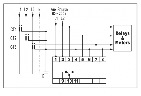 Overvoltage Protector for Current-Transformer Protection — Wiring Diagram