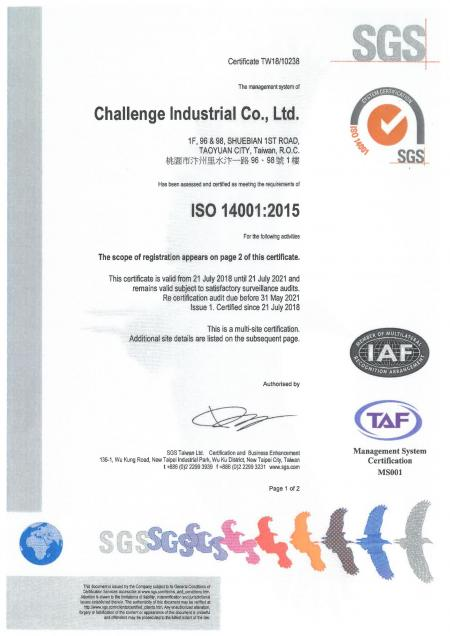 ISO 14001:2015 Certificate - Page 1
