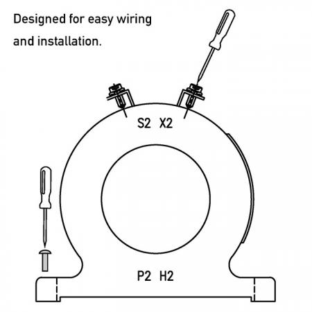 Уникальный дизайн для удобного монтажа и монтажа (низковольтный трансформатор тока серии POS)