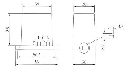 尺寸圖 (LED 照明設備突波保護器 WSP-SL 系列)
