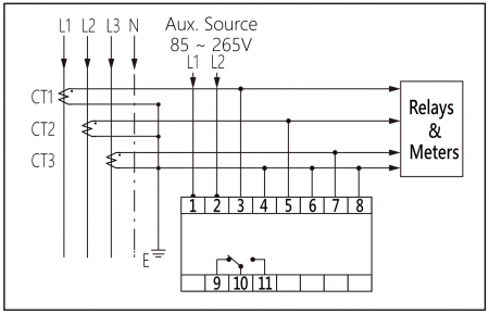 Protetor de sobretensão para proteção de transformador de corrente (diagrama de fiação)
