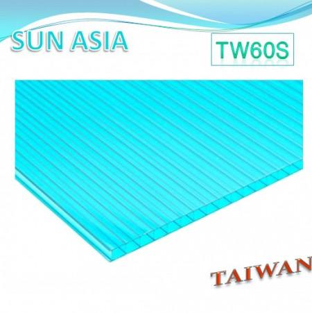 Lámina de policarbonato de pared doble (azul verde)