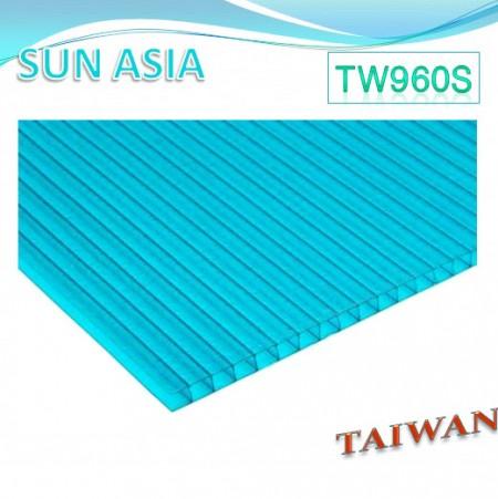 Hoja de policarbonato de pared gemela esmerilada (azul verde) - Hoja de policarbonato de pared gemela esmerilada (azul verde)