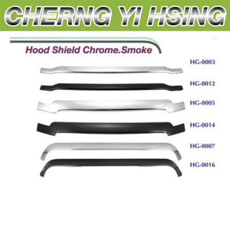 Hood Shield Chrome. Smoke