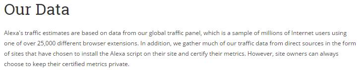 Alexa Traffice Estimates Source - Alexa排名資料的統計來源