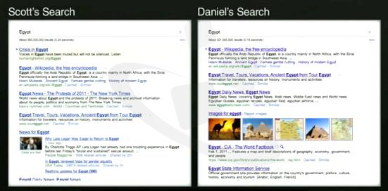 不同地點、不同的搜尋結果