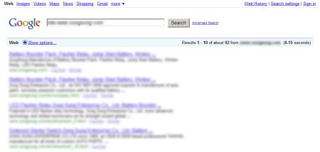 改版前Google 只有收录92 笔资料