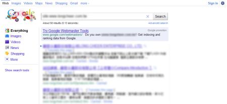 改版前 Google 只有收錄 58 筆資料