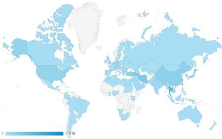 近三個月共有 97 個國家訪客