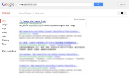 改版前 Google 只有收錄 232 筆資料