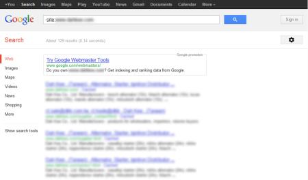 改版前 Google 只有收錄 129 筆資料