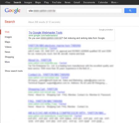 改版前Google 只有收录268 笔资料