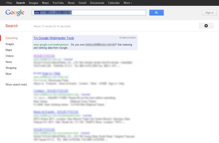 改版前Google 只有收录13 笔资料