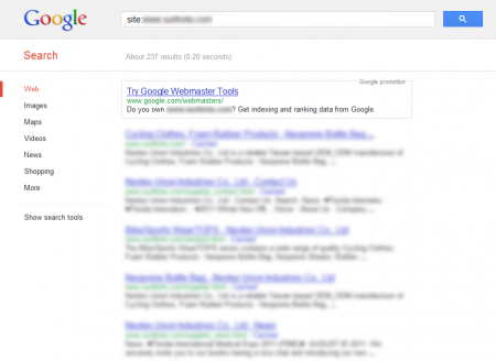 改版前Google 只有收录237 笔资料