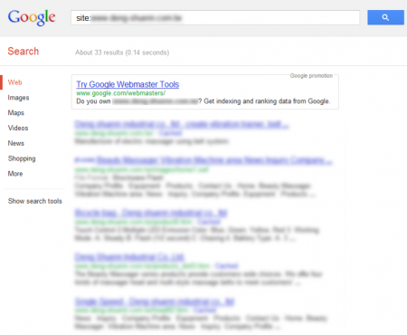 改版前 Google 只有收錄 33 筆資料