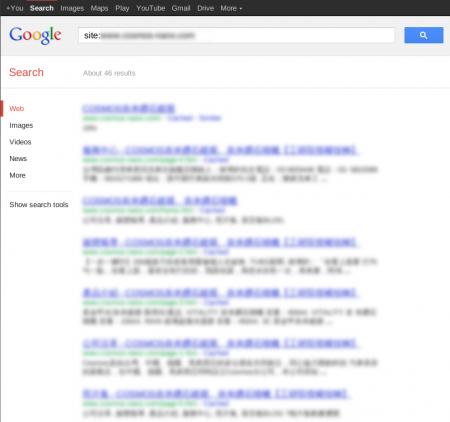 改版前 Google 只有收錄 46 筆資料