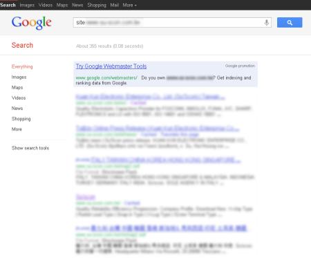改版前Google 只有收录355 笔资料