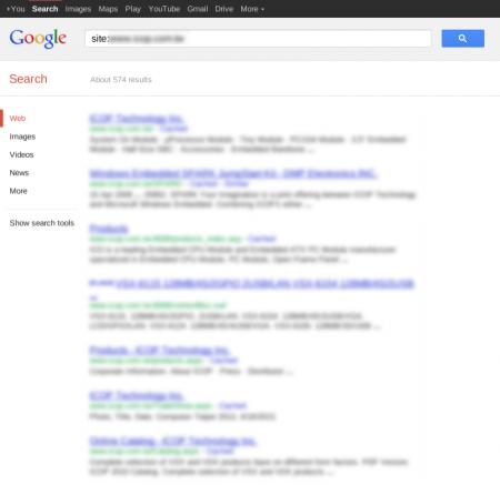 改版前 Google 只有收錄 574 筆資料