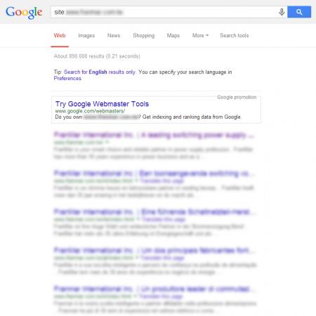 改版后Google 共收录890,000 笔资料(竞争力增加↑2125.00%)