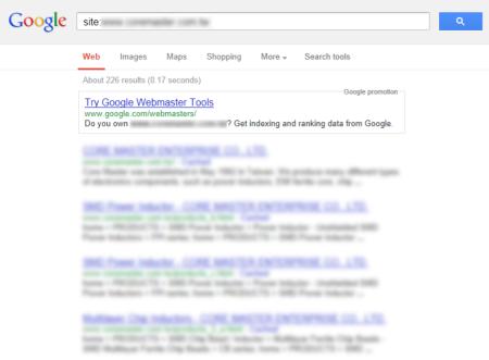 改版前 Google 只有收錄 226 筆資料