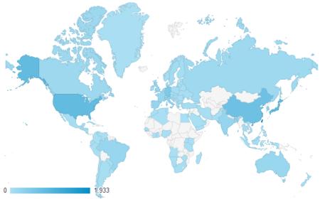 近三個月共有 104 個國家訪客