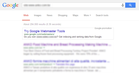 改版后Google 共收录204,000 笔资料(↑8329.75%)