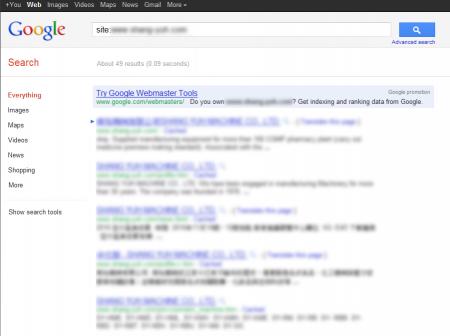 改版前Google 只有收录49 笔资料