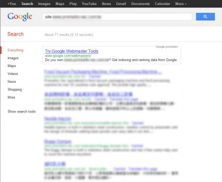 改版前 Google 只有收錄 71 筆資料