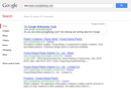 改版前 Google 只有收錄 35 筆資料