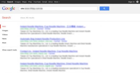 改版前Google 只有收录265 笔资料