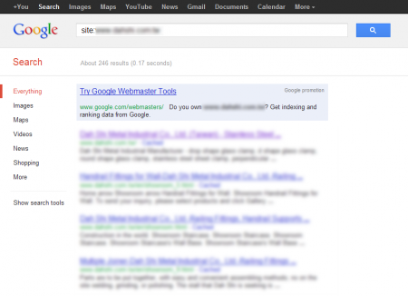 改版前 Google 只有收錄 246 筆資料