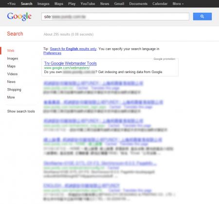 改版前Google 只有收录295 笔资料