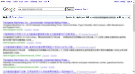 改版前Google 只有收录149 笔资料