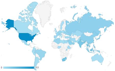 近三个月共有68 个国家访客