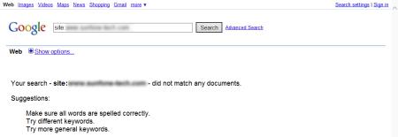 改版前Google 只有收录0 笔资料(因为没有网页)
