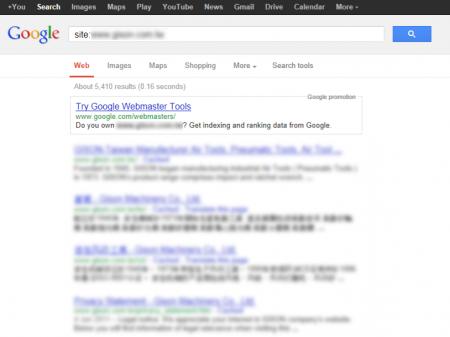 改版前Google 只有收录5,410 笔资料