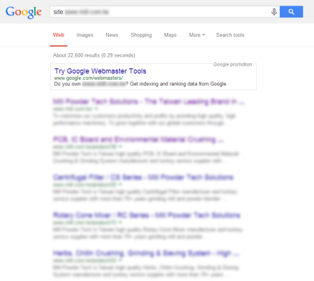 改版後 Google 共收錄 22,600 筆資料  (競爭力增加↑2,561.96%)