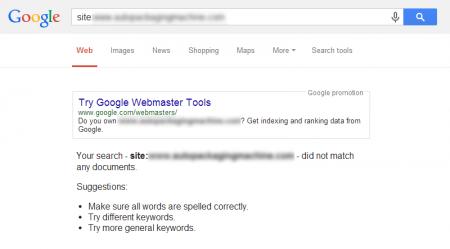 改版前 Google 只有收錄 0 筆資料 (因為原官網被懲罰,資料歸零)