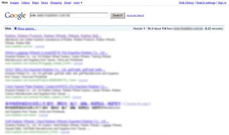 改版前Google 只有收录114 笔资料