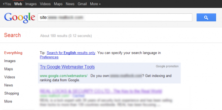 改版前Google 只有收录180 笔资料