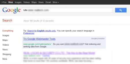 改版前 Google 只有收錄 180 筆資料