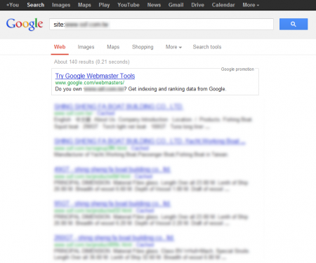 改版前 Google 只有收錄 140 筆資料