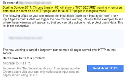 Google Chrome瀏覽器第62版將針對文字欄位都一律顯示為網站不安全