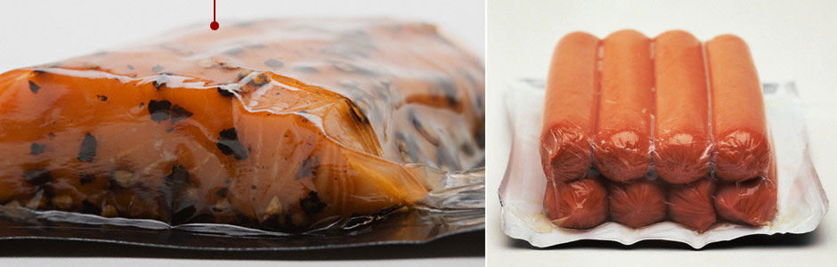 vacuum-packaged salmon and sausages